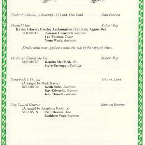 Gospel to Gershwin Program details