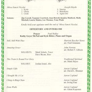 Haydn's St. Nicholas Mass Program Details